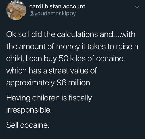 child: cardi b stan account  @youdamnskippy  Ok so I did the calculations and...with  the amount of money it takes to raise a  child, I can buy 50 kilos of cocaine,  which has a street value of  approximately $6 million.  Having children is fiscally  irresponsible.  Sell cocaine.