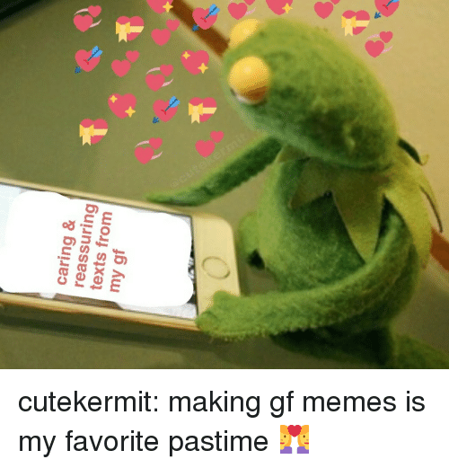 Memes, Tumblr, and Blog: caring &  reassuring  texts from  my gf cutekermit:  making gf memes is my favorite pastime 👩‍❤️‍👩