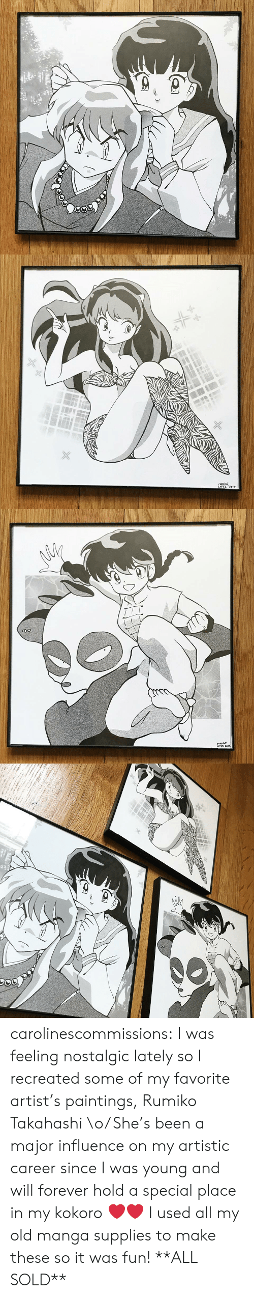 artistic: CAROLINE  LoPE2 201 carolinescommissions: I was feeling nostalgic lately so I recreated some  of my favorite artist's paintings, Rumiko Takahashi \o/ She's been a  major influence on my artistic career since I was young and will forever  hold a special place in my kokoro ❤️❤️ I used all my old manga supplies to make these so it was fun! **ALL SOLD**