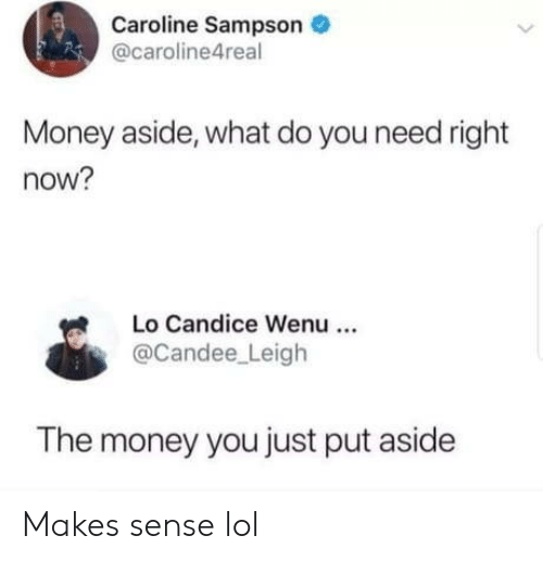 aside: Caroline Sampson  @caroline4real  Money aside, what do you need right  now?  Lo Candice Wenu  @Candee Leigh  The money you just put aside Makes sense lol