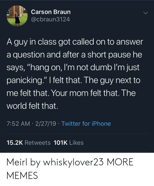 "Dank, Dumb, and Iphone: Carson Braun  @cbraun3124  A guy in class got called on to answer  a question and after a short pause he  says, ""hang on, I'm not dumb I'm just  panicking."" I felt that. The guy next to  me felt that. Your mom felt that. The  world felt that.  7:52 AM- 2/27/19 Twitter for iPhone  15.2K Retweets 101K Likes Meirl by whiskylover23 MORE MEMES"