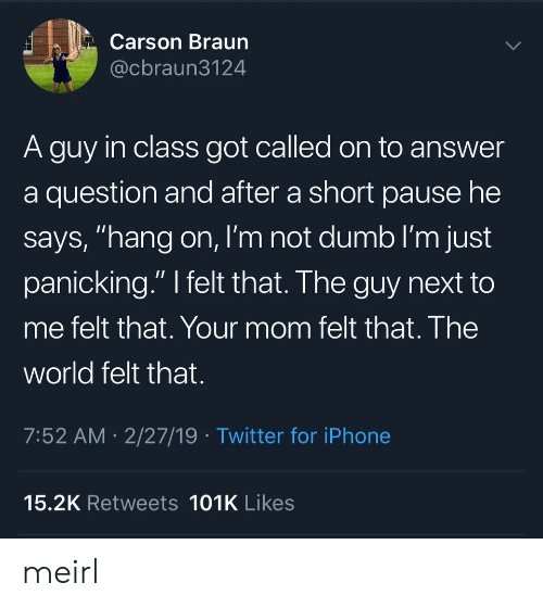 "Dumb, Iphone, and Twitter: Carson Braun  @cbraun3124  A guy in class got called on to answer  a question and after a short pause he  says, ""hang on, I'm not dumb I'm just  panicking."" I felt that. The guy next to  me felt that. Your mom felt that. The  world felt that.  7:52 AM 2/27/19 Twitter for iPhone  15.2K Retweets 101K Likes meirl"