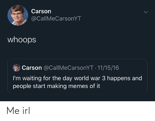 whoops: Carson  @CallIMeCarsonYT  whoops  Carson @CallMeCarsonYT - 11/15/16  I'm waiting for the day world war 3 happens and  people start making memes of it Me irl
