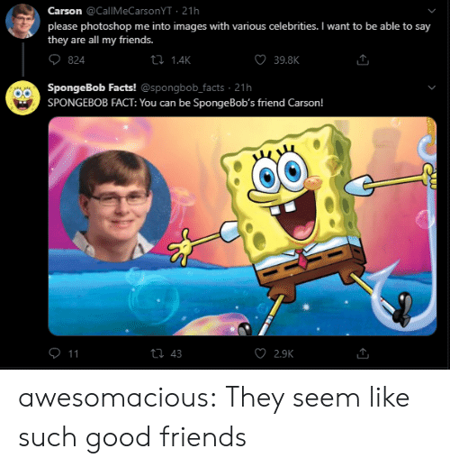 Celebrities: Carson @CallMeCarsonYT 21h  please photoshop me into images with various celebrities. I want to be able to say  they are all my friends.  ti 1.4K  39.8K  824  SpongeBob Facts! @spongbob_facts 21h  SPONGEBOB FACT: You can be Sponge Bob's friend Carson!  O 11  ti 43  2.9K awesomacious:  They seem like such good friends