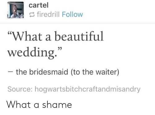 """cartel: cartel  firedrill Follow  """"What a beautiful  wedding  35  the bridesmaid (to the waiter)  Source: hogwartsbitchcraftandmisandry What a shame"""