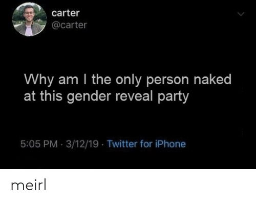 Why Am: carter  @carter  Why am I the only person naked  at this gender reveal party  5:05 PM 3/12/19 Twitter for iPhone meirl