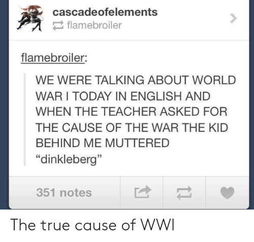 """Teacher, True, and Tumblr: cascadeofelements  flamebroiler  flamebroiler:  WE WERE TALKING ABOUT WORLD  WARI TODAY IN ENGLISH AND  WHEN THE TEACHER ASKED FOR  THE CAUSE OF THE WAR THE KID  BEHIND ME MUTTERED  """"dinkleberg""""  351 notes The true cause of WWI"""