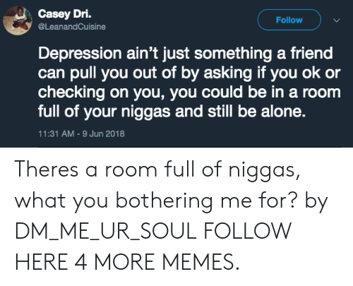Being Alone, Dank, and Memes: Casey Dri.  @LeanandCuisine  Follow  Depression ain't just something a friend  can pull you out of by asking if you ok or  checking on you, you could be in a room  full of your niggas and still be alone.  11:31 AM -9 Jun 2018 Theres a room full of niggas, what you bothering me for? by DM_ME_UR_SOUL FOLLOW HERE 4 MORE MEMES.