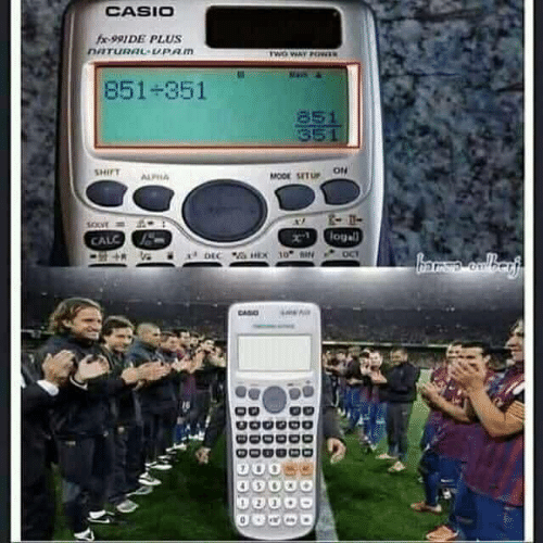 fx: CASIO  fx-991 DE PLUS  DATURAL-UPAM  TWO WAY PO  851-351  851  351  SHIFT  MODE SET U ON  ALFHA  logall  CALC  DEC HEX 10 a  OCT