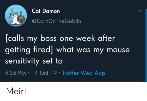 Mouse: Cat Damon  @CornOnTheGoblin  [calls my boss one week after  getting fired] what was my mouse  sensitivity set to  4:35 PM 14 Oct 19 Twitter Web App Meirl