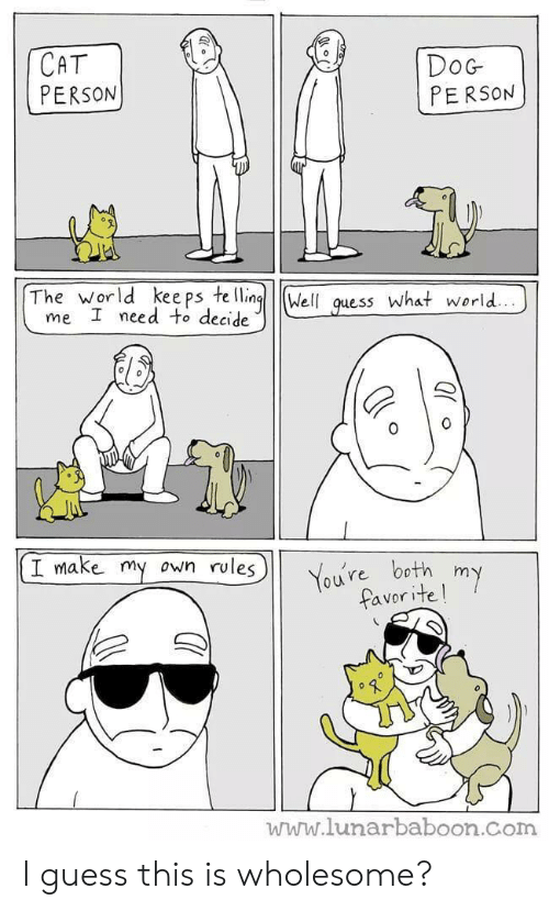 Guess, World, and Wholesome: CAT  PERSON  DoG  PERSON  The world kee ps te llingWell quess What world..  me I need to decide  I make my  own rules  You're both my  favorite!  www.lunarbaboon.com I guess this is wholesome?