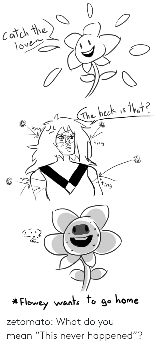 """Tumblr, Blog, and Home: Catch the  1oven   The heck is that?  King  Tirg  ring   Flowey wante to go home zetomato:  What do you mean""""This never happened""""?"""
