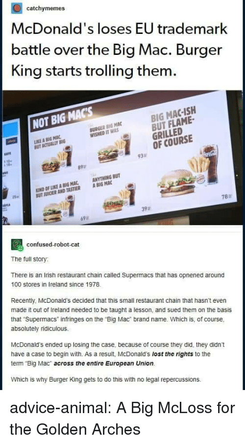"Advice, Anaconda, and Burger King: catchymemes  McDonald's loses EU trademark  battle over the Big Mac. Burger  King starts trolling them  BIG MAC-ISH  BUT FLAME-  GRILLED  OF COURSE  NOT BIG MACs  BURGER BIG MAC  WISHED IT WAS  IKE A BIG MAC  UT ACTUALLY BIG  必  93  89  KIND OF LIKE A BIG MAC, ANYTHING BUT  UT JUICIER AND TASTIER A BIG MAC  25  787  39a  69  confused-robot-cat  The full story  There is an Irish restaurant chain called Supermacs that has opnened around  100 stores in Ireland since 1978  Recently, McDonald's decided that this small restaurant chain that hasn't even  made it out of Ireland needed to be taught a lesson, and sued them on the basis  that Supermacs infringes on the ""Big Mac brand name. Which is, of course,  absolutely ridiculous.  McDonald's ended up losing the case, because of course they did, they didn't  have a case to begin with. As a result, McDonald's lost the rights to the  term Big Mac across the entire European Union.  Which is why Burger King gets to do this with no legal repercussions. advice-animal:  A Big McLoss for the Golden Arches"