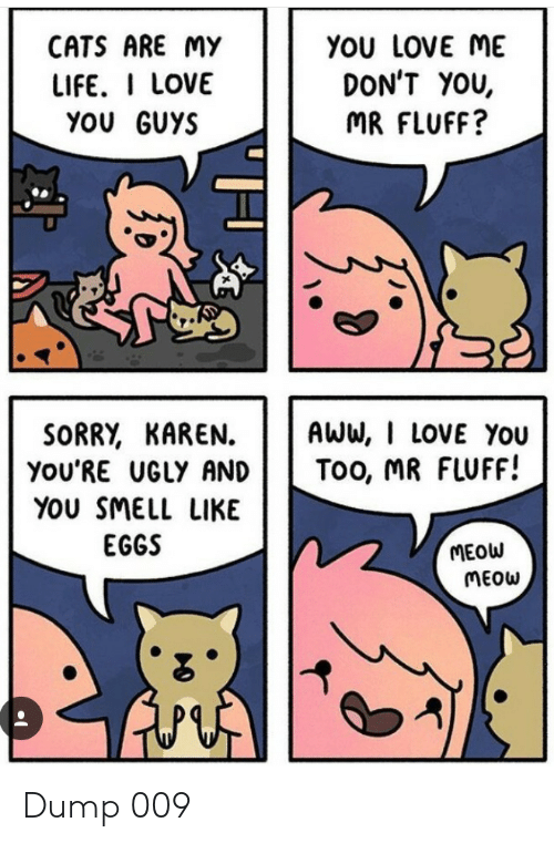 love you too: CATS ARE MY  YOU LOVE ME  DON'T YOU,  LIFE. I LOVE  YOU GUYS  MR FLUFF?  SORRY, KAREN  you'RE UGLY AND  AWW, I LOVE You  Too, MR FLUFF!  YOU SMELL LIKE  EGGS  MEOW  MEOW Dump 009