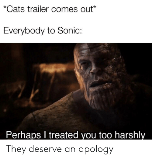 Cats, Sonic, and Apology: *Cats trailer comes out*  Everybody to Sonic:  Perhaps I treated you too harshly They deserve an apology