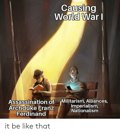 Nationalism: Causing  World WarI  Assassination of  Archduke Franz  Ferdinand  Militarism, Alliances,  Imperialism,  Nationalism it be like that
