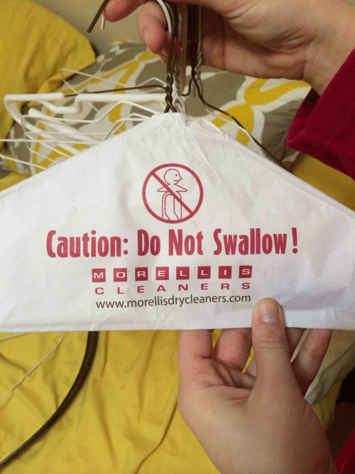 Cle, Www, and Swallow: Caution: Do Not Swallow  CLE ANE R S  www.morellisdrycleaners.comm