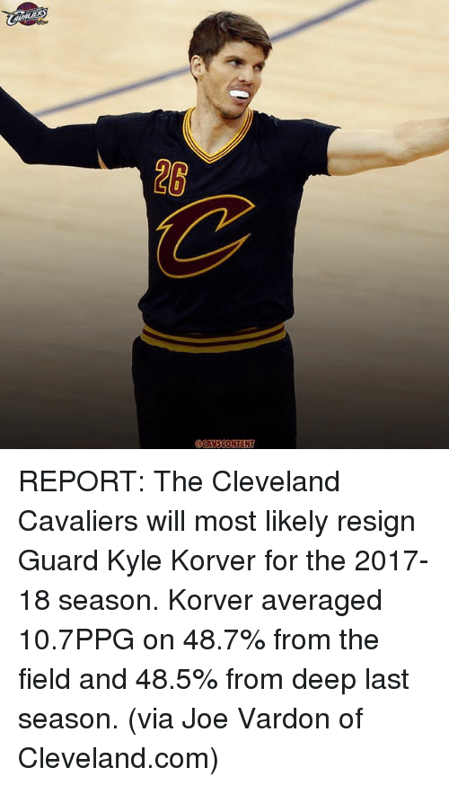 Resignated: @CAVS CONTENT REPORT: The Cleveland Cavaliers will most likely resign Guard Kyle Korver for the 2017-18 season. Korver averaged 10.7PPG on 48.7% from the field and 48.5% from deep last season. (via Joe Vardon of Cleveland.com)