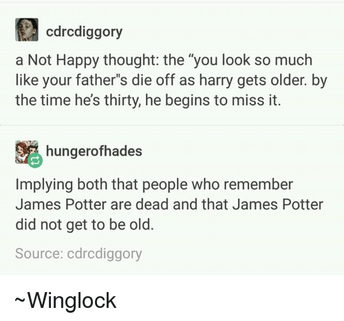 "happy thoughts: cdrcdiggory  a Not Happy thought: the ""you look so much  like your father""s die off as harry gets older. by  the time hes thirty, he begins to miss it.  hungerofhades  Implying both that people who remember  James Potter are dead and that James Potter  did not get to be old.  Source: cdrcdiggory ~Winglock"