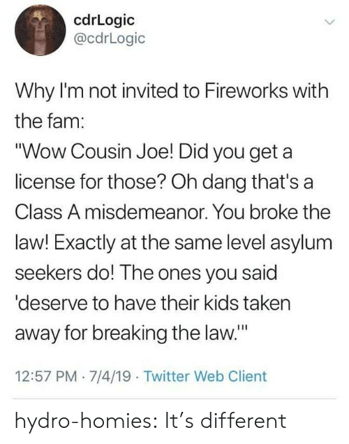 "Fam, Taken, and Tumblr: cdrLogic  @cdrLogic  Why I'm not invited to Fireworks with  the fam:  ""Wow Cousin Joe! Did you get a  license for those? Oh dang that's a  Class A misdemeanor. You broke the  law! Exactly at the same level asylum  seekers do! The ones you said  'deserve to have their kids taken  away for breaking the law.""  12:57 PM 7/4/19 Twitter Web Client hydro-homies: It's different"