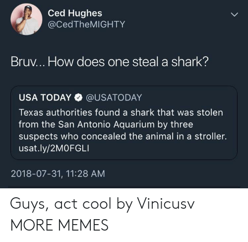 Dank, Memes, and Target: Ced Hughes  @CedTheMIGHTY  Bruv... How does one steal a shark?  USA TODAY @USATODAY  Texas authorities found a shark that was stolen  from the San Antonio Aquarium by three  suspects who concealed the animal in a stroller.  usat.ly/2MOFGLI  2018-07-31, 11:28 AM Guys, act cool by Vinicusv MORE MEMES