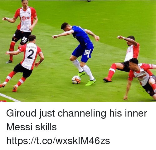 channeling: CEDRI Giroud just channeling his inner Messi skills https://t.co/wxskIM46zs