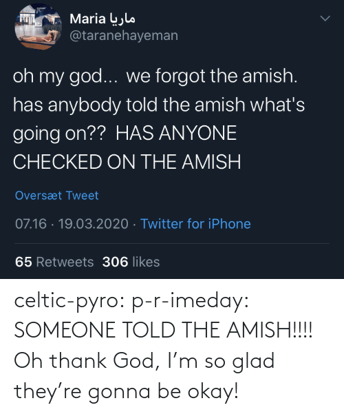 Okay: celtic-pyro:  p-r-imeday:  SOMEONE TOLD THE AMISH!!!!  Oh thank God, I'm so glad they're gonna be okay!