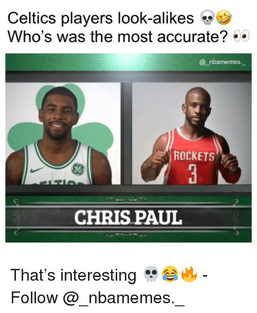 Chris Paul, Memes, and Celtics: Celtics players look-alikes  Who's was the most accurate?  @_nbamemes.  ROCKETS  CHRIS PAUL That's interesting 💀😂🔥 - Follow @_nbamemes._