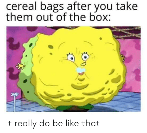 the box: cereal bags after you take  them out of the box: It really do be like that