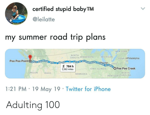 Iphone, New York, and Twitter: certified stupid babyTM  @leilatte  my summer road trip plans  RI  NEW YORK  NORTH  DAKOTA MINNESOTA  MICHIGA  PENN OPhiladelphia  Poo Poo PointC  DE  cago OHIO  784 h  2382 milesOWA ILLINOIS  Pee Pee Creek  OREGON IDAHO  NORTH  NEBRASKA  KENTUCKYCAROLINA  1:21 PM 19 May 19 Twitter for iPhone Adulting 100