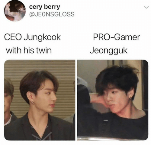 Jungkook: cery berry  @JEONSGLOSS  CEO Jungkook  PRO-Gamer  with his twin  Jeongguk