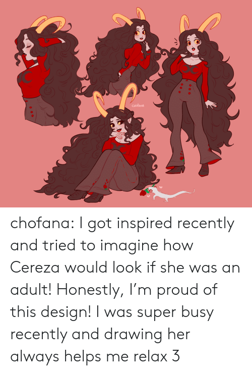 Target, Tumblr, and Blog: Ch chofana:  I got inspired recently and tried to imagine how Cereza would look if she was an adult! Honestly, I'm proud of this design! I was super busy recently and drawing her always helps me relax 3