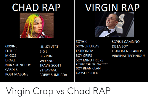Bobby Shmurda, Drake, and Future: CHAD RAP  VIRGIN RAP  SOYGIC  SOYISH GAMBINO  6IX9INE  SOYNER LUCAS  DE LA SOY  LIL UZI VERT  FUTURE  ESTRONEM  ESTROGEN PLANETS  BIG L  MIGOS  SOY GRIPS  VIRGINAL TECHNIQUE  BIG PUN  DRAKE  SOY MIND TRICKS  WEEKND  A TRIBE CALLED LOW TEST  NBA YOUNGBOY  TRAVIS SCOTT  SOY BEAN CLAN  CARDI B  21 SAVAGE  GAYSOP ROCK  POST MALONE  BOBBY SHMURDA Virgin Crap vs Chad RAP