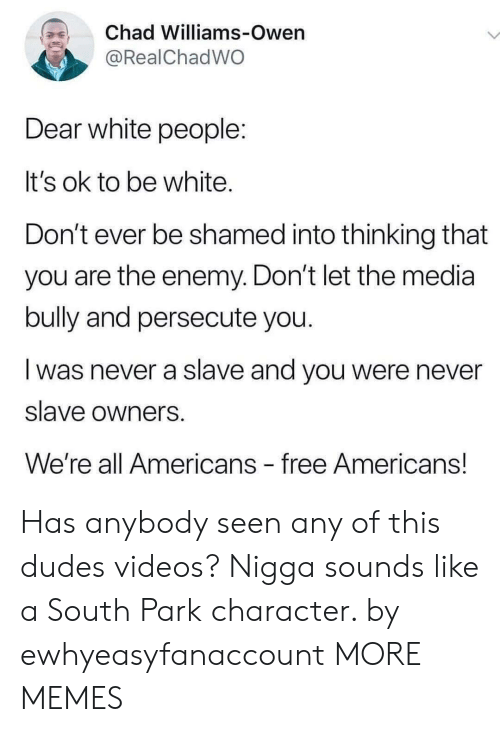 Dank, Memes, and South Park: Chad Williams-Owen  @RealChadWO  Dear white people:  It's ok to be white.  Don't ever be shamed into thinking that  you are the enemy. Don't let the media  bully and persecute you.  was never a slave and you were never  slave owners  We're all Americans free Americans! Has anybody seen any of this dudes videos? Nigga sounds like a South Park character. by ewhyeasyfanaccount MORE MEMES