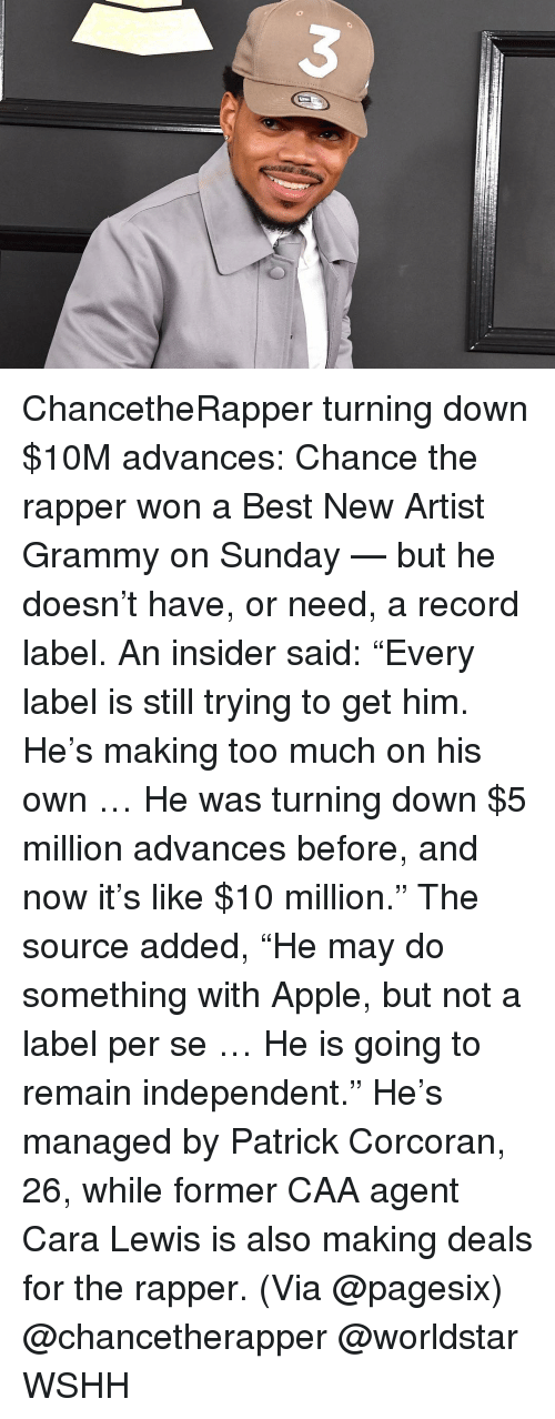 """Memes, 🤖, and Caa: ChancetheRapper turning down $10M advances: Chance the rapper won a Best New Artist Grammy on Sunday — but he doesn't have, or need, a record label. An insider said: """"Every label is still trying to get him. He's making too much on his own … He was turning down $5 million advances before, and now it's like $10 million."""" The source added, """"He may do something with Apple, but not a label per se … He is going to remain independent."""" He's managed by Patrick Corcoran, 26, while former CAA agent Cara Lewis is also making deals for the rapper. (Via @pagesix) @chancetherapper @worldstar WSHH"""