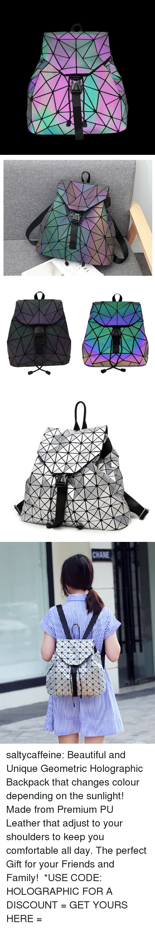 Beautiful, Comfortable, and Family: CHANE saltycaffeine: Beautiful and Unique Geometric Holographic Backpack that changes colour depending on the sunlight! Made from Premium PU Leather that adjust to your shoulders to keep you comfortable all day. The perfect Gift for your Friends and Family!  *USE CODE: HOLOGRAPHIC FOR A DISCOUNT = GET YOURS HERE =