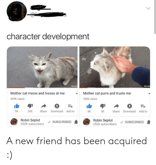 Been, Cat, and Robin: character development  Mother cat meow and hisses at me  Mother cat purrs and trusts me  439K views  168K views  6K  9K  245 Share Download Add to  58 Share Download Add to  Robin Seplut  252K subscribers SUBSCRIBED  Robin Seplut  252K subscribers SUBSCRIBED A new friend has been acquired :)