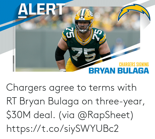agree: Chargers agree to terms with RT Bryan Bulaga on three-year, $30M deal. (via @RapSheet) https://t.co/siySWYUBc2