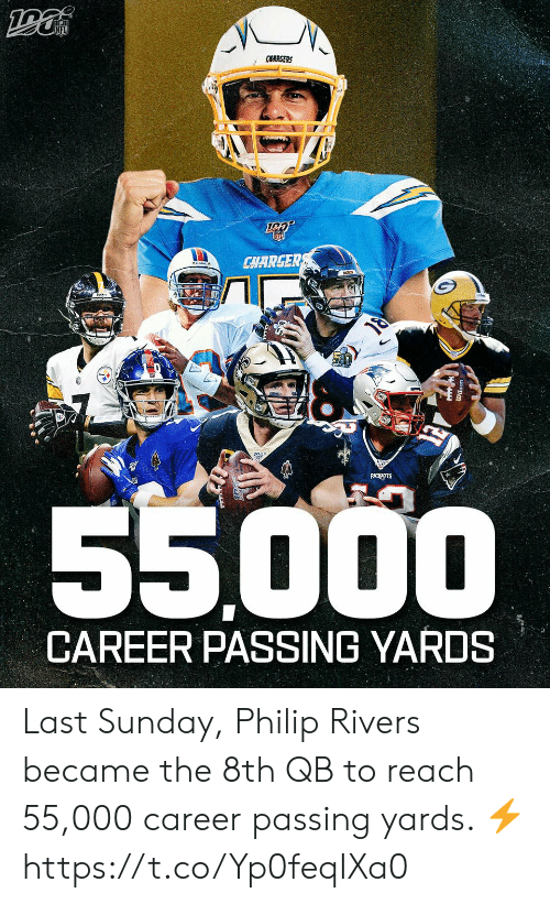 Philip: CHARGERS  CHARGER  PATRIOTS  55000  CAREER PASSING YARDS Last Sunday, Philip Rivers became the 8th QB to reach 55,000 career passing yards. ⚡️ https://t.co/Yp0feqIXa0