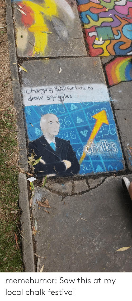 Festival: charging $0for kids to  draw squiggles  60  360403  456  chalks memehumor:  Saw this at my local chalk festival