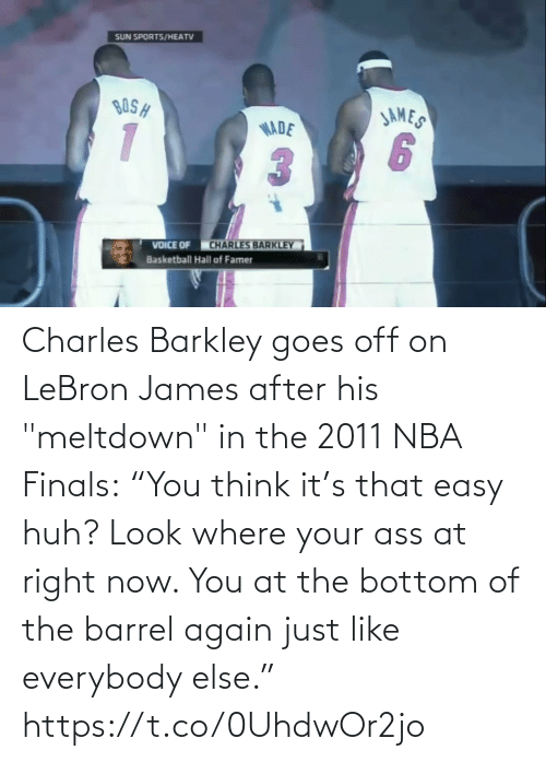 """Goes: Charles Barkley goes off on LeBron James after his """"meltdown"""" in the 2011 NBA Finals:  """"You think it's that easy huh? Look where your ass at right now. You at the bottom of the barrel again just like everybody else.""""   https://t.co/0UhdwOr2jo"""