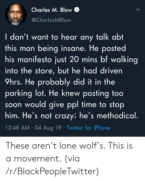 Time To Stop: Charles M. Blow  @CharlesMBlow  I don't want to hear any talk abt  this man being insane. He posted  his manifesto just 20 mins bf walking  into the store, but he had driven  9hrs. He probably did it in the  parking lot. He knew posting too  soon would give ppl time to stop  him. He's not crazy; he's methodical.  12:48 AM 04 Aug 19 Twitter for iPhone These aren't lone wolf's. This is a movement. (via /r/BlackPeopleTwitter)