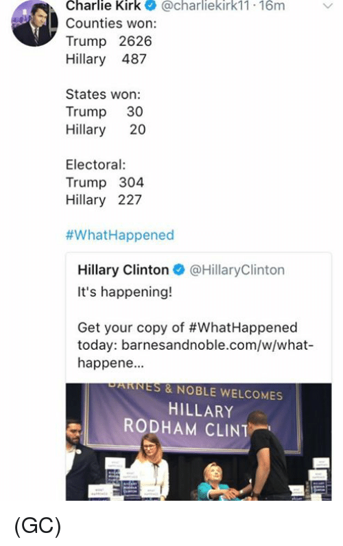 Trumped: Charlie Kirk@charliekirk11 16m  Counties won:  Trump 2626  Hillary 487  States won:  Trump 30  Hillary 20  Electoral  Trump 304  Hillary 227  #What-Happened  Hillary Clinton@HillaryClinton  It's happening!  Get your copy of #WhatHappened  today: barnesandnoble.com/w/what-  happene.  PARNES & NOBLE WELCOMES  HILLARY  RODHAM CLINT (GC)