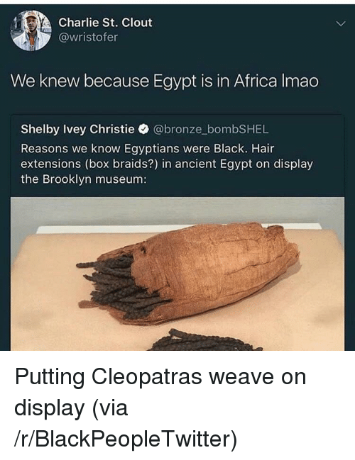 Africa, Blackpeopletwitter, and Braids: Charlie St. Clout  @wristofer  We knew because Egypt is in Africa Imao  Shelby Ivey Christie @bronze_bombSHEL  Reasons we know Egyptians were Black. Hair  extensions (box braids?) in ancient Egypt on display  the Brooklyn museum: <p>Putting Cleopatras weave on display (via /r/BlackPeopleTwitter)</p>