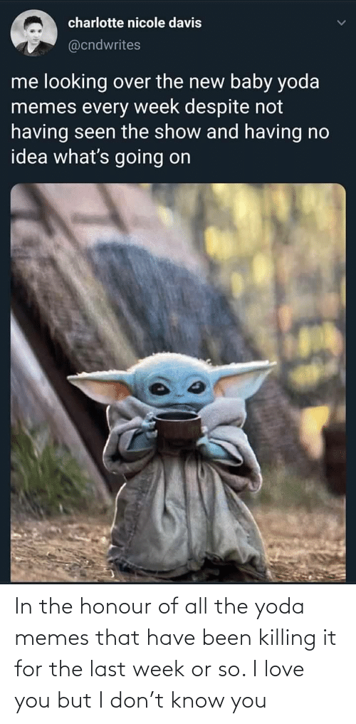 Killing It: charlotte nicole davis  @cndwrites  me looking over the new baby yoda  memes every week despite not  having seen the show and having no  idea what's going on In the honour of all the yoda memes that have been killing it for the last week or so. I love you but I don't know you
