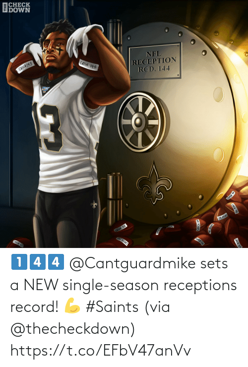 Cato: |CHECK  DOWN  CATCH (43  CATCH 144  NFL  RECEPTION  RCD. 144  CATCH 10  CATCH 65  CATCH 82  ze HII  CATO  CATCH 107  CATCH 56  CATCH 138  CATCH 23  CATCH 129 1️⃣4️⃣4️⃣  @Cantguardmike sets a NEW single-season receptions record! 💪 #Saints   (via @thecheckdown) https://t.co/EFbV47anVv
