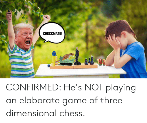 Dimensional Chess: CHECKMATE!  Те9 CONFIRMED: He's NOT playing an elaborate game of three-dimensional chess.