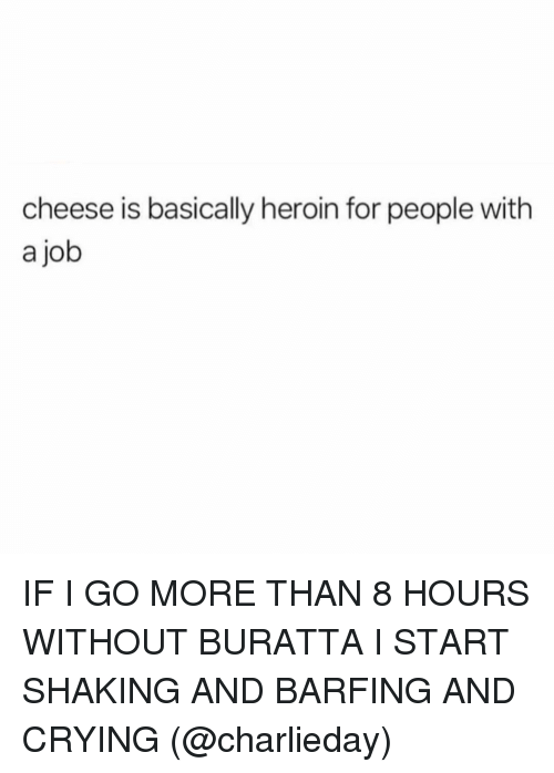 Barfing: cheese is basically heroin for people with  a job IF I GO MORE THAN 8 HOURS WITHOUT BURATTA I START SHAKING AND BARFING AND CRYING (@charlieday)