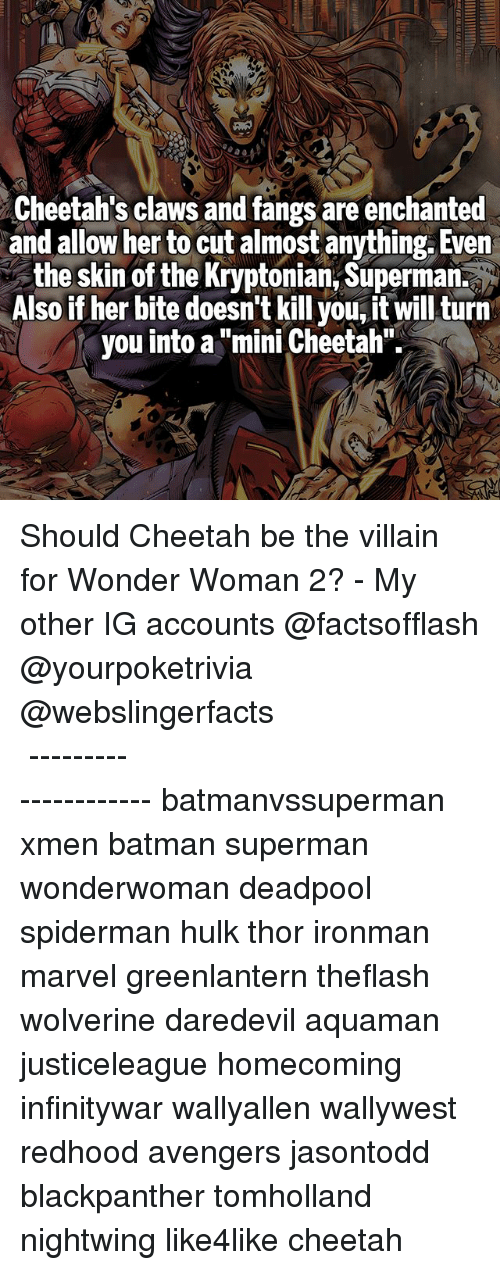 "hulking: Cheetah's claws and fangs are enchanted  and allow her to cut almost anything. Even  the skin of the Kryptonian, Superman.  Also if her bite doesn't kill you, it will turn  you into a ""mini Cheetah"" Should Cheetah be the villain for Wonder Woman 2? - My other IG accounts @factsofflash @yourpoketrivia @webslingerfacts ⠀⠀⠀⠀⠀⠀⠀⠀⠀⠀⠀⠀⠀⠀⠀⠀⠀⠀⠀⠀⠀⠀⠀⠀⠀⠀⠀⠀⠀⠀⠀⠀⠀⠀⠀⠀ ⠀⠀--------------------- batmanvssuperman xmen batman superman wonderwoman deadpool spiderman hulk thor ironman marvel greenlantern theflash wolverine daredevil aquaman justiceleague homecoming infinitywar wallyallen wallywest redhood avengers jasontodd blackpanther tomholland nightwing like4like cheetah"
