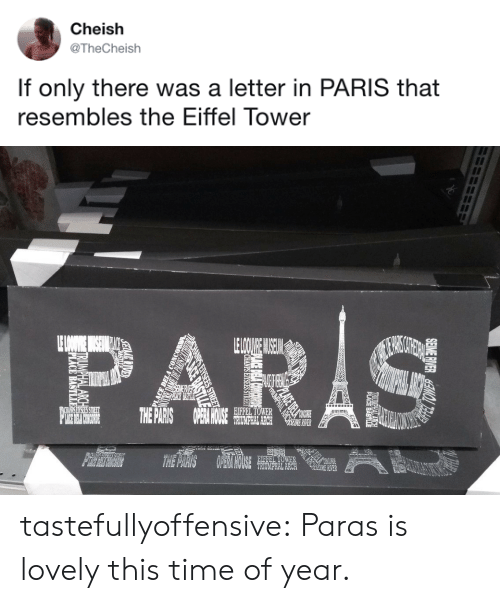 Target, Tumblr, and Blog: Cheish  @TheCheish  If only there was a letter in PARIS that  resembles the Eiffel Tower   0や  EIFFEL TOWER  HOUCE  RIVER  TRIUMPHAL ARCH  TER tastefullyoffensive:  Paras is lovely this time of year.